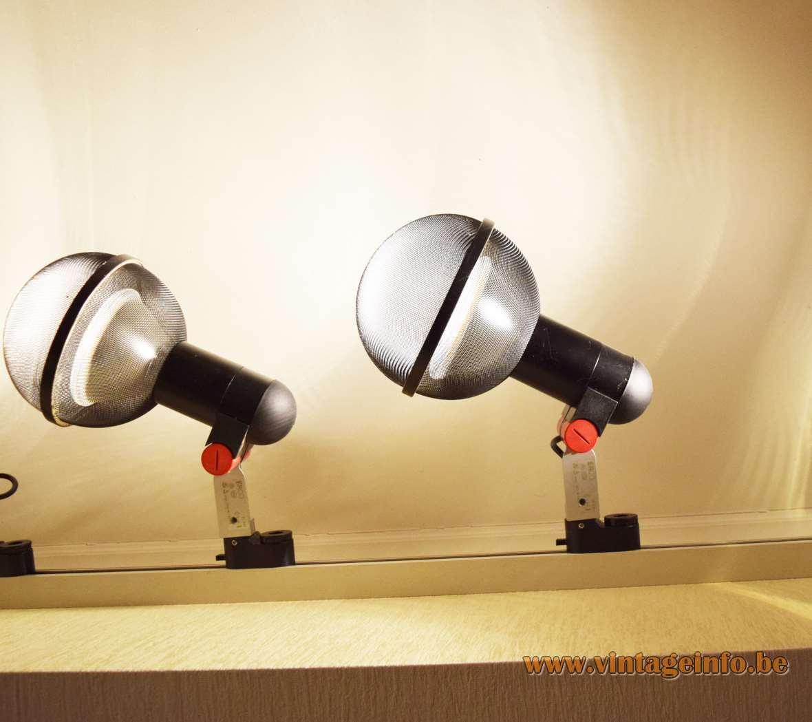 Roger Tallon ERCO Spots Micro, 1977, black, red, plastic, aluminium, industrial design, PAR38, floor