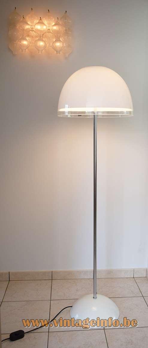 1970s Baobab Floor Lamp iGuzzini design team white clear acrylic mushroom chrome Model 4531
