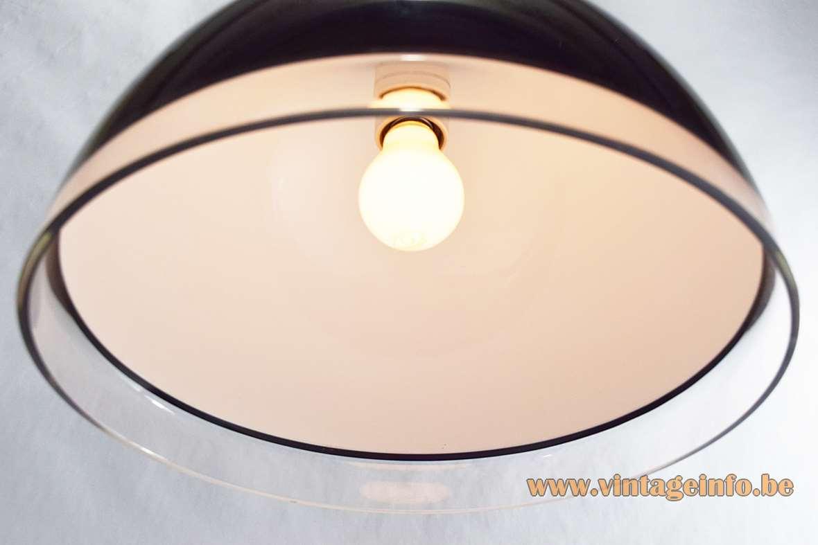 1970s iGuzzini Baobab Pendant Lamp, black & clear acrylic, rise & fall, iGuzzini design team