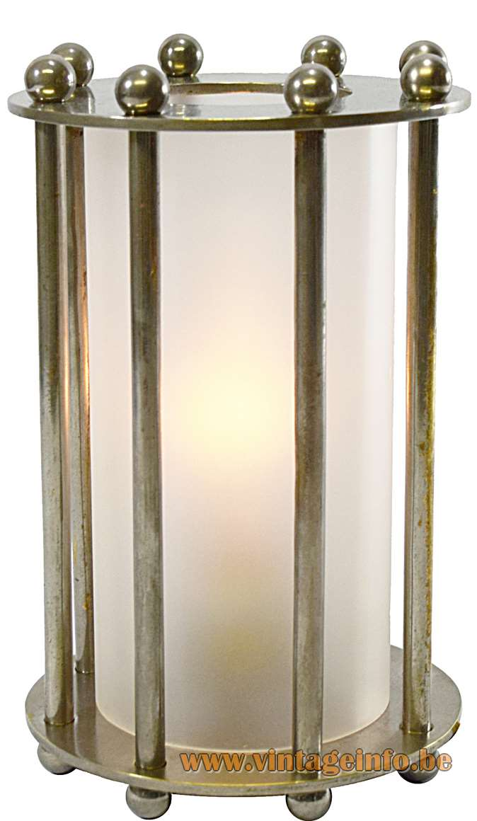 1930s Modernist Table Lamp Art Deco lamp nickel-plated frosted glass round 1920s 1940s