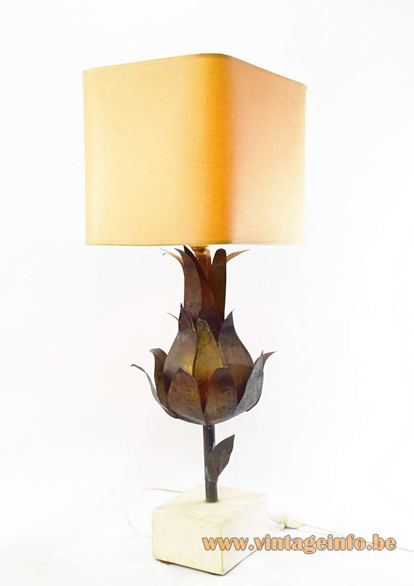 Artichoke Table Lamp France Sandstone base Hammered burned brass Fabric lampshade 1960s 1970s