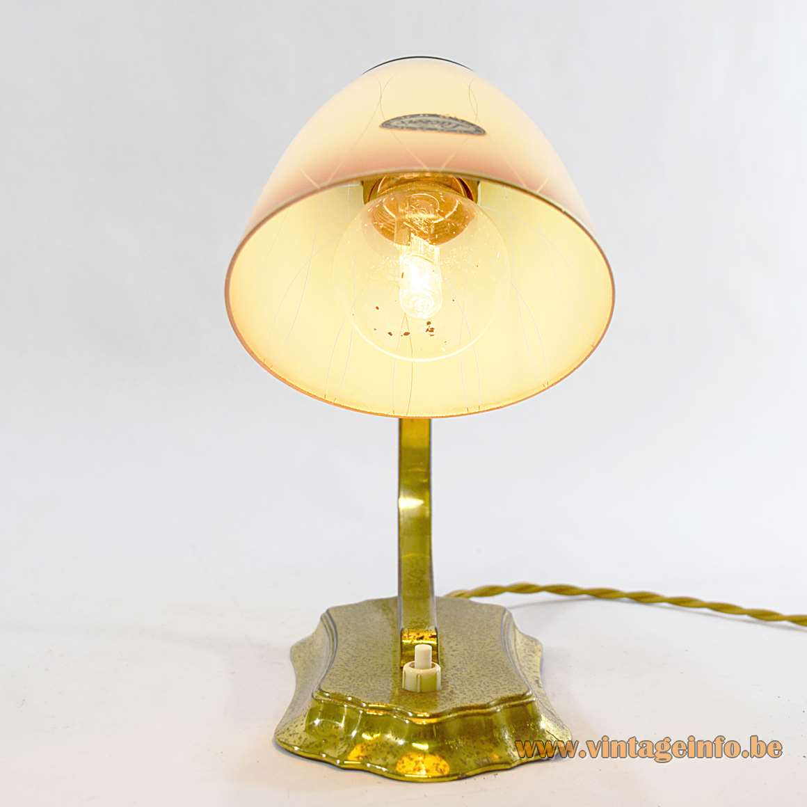 Boris Lacroix Wall or Table Lamp 1940s 1950s France metal brass yellow brown glass