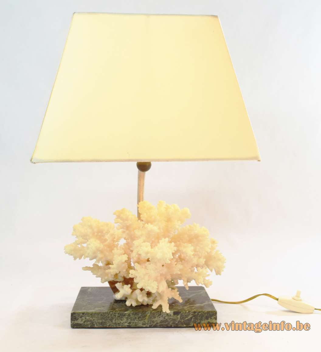Cauliflower Coral Table Lamp 1970s Marble base fabric lampshade metal rod Willy Daro
