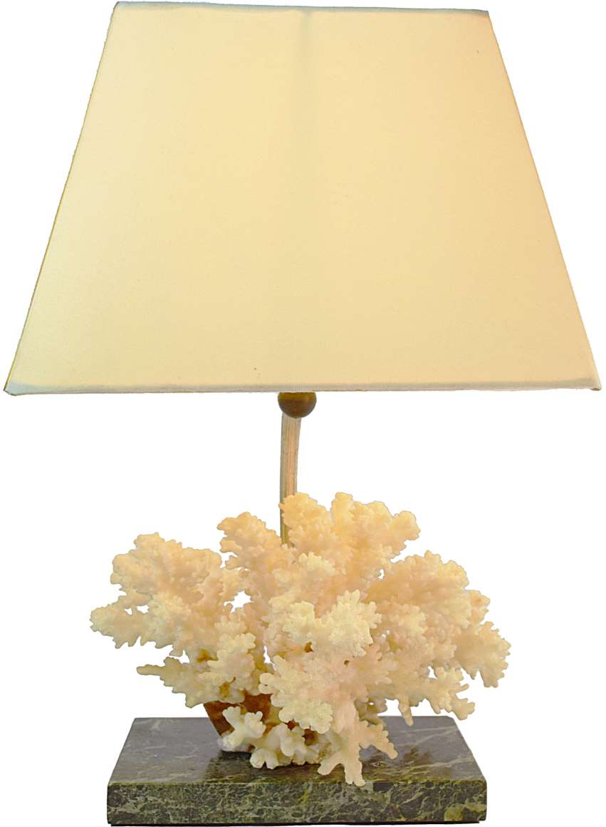 Coral Table Lamp Vintage Info