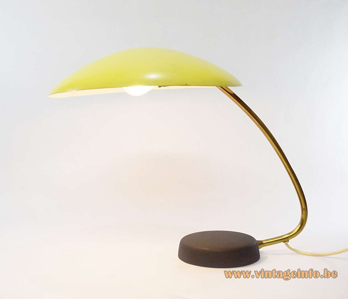 1950s Cosack Desk Lamp Gecos Germany 1950s 1960s yellow brass aluminium cast iron black wrinkle paint