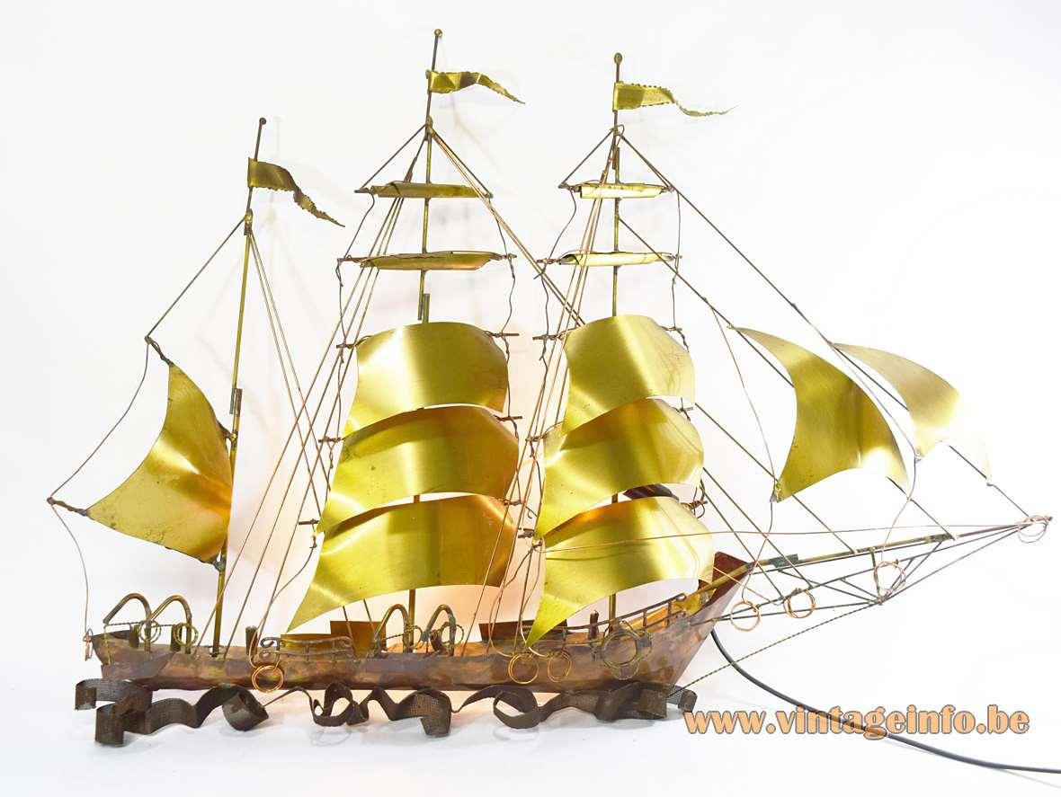 1970s Brutalist Sailboat Wall Lamp brass copper Daniel Dhaeseleer Belgium ship