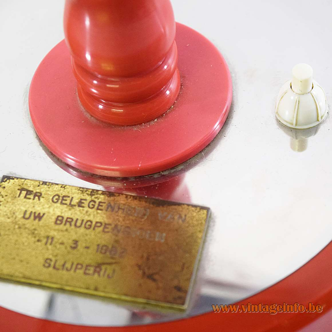 Diamond Cutting Early Retirement Table Lamp - switch and brass plate