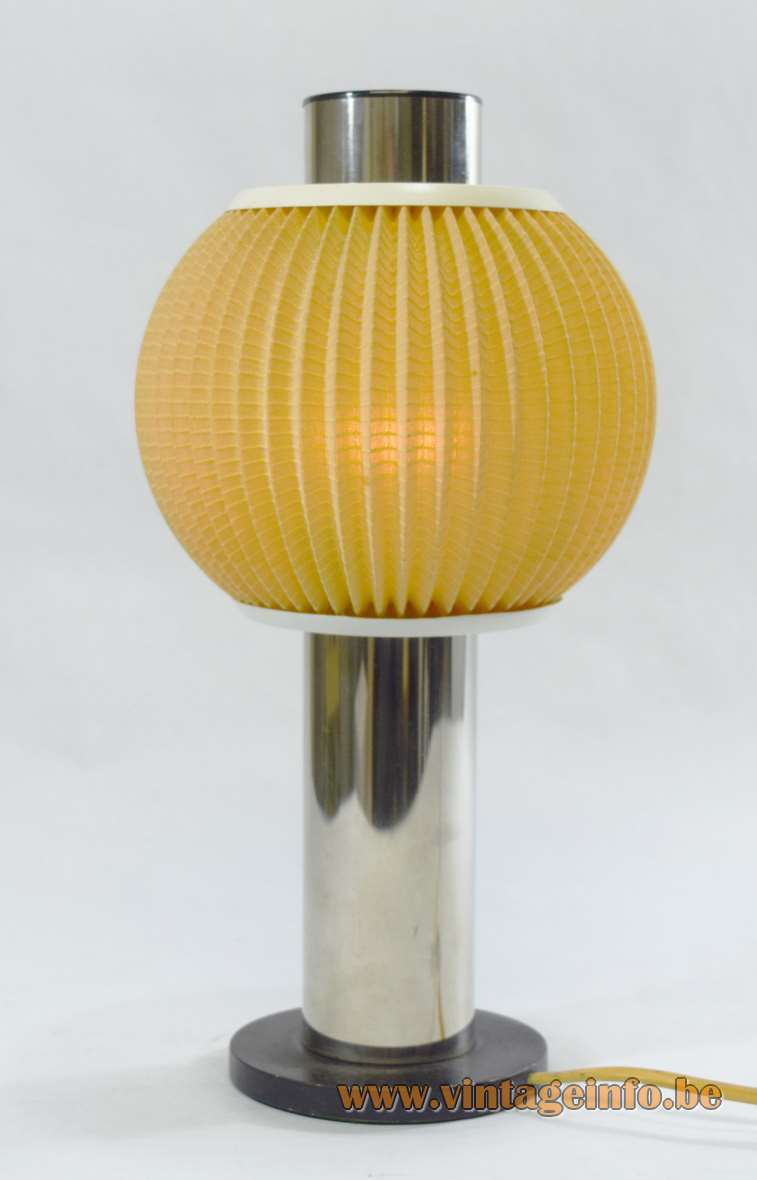 East German Table Lamp VEB Wonraumleuchten 1950s 1960s folded fabric chrome tube metal round globe