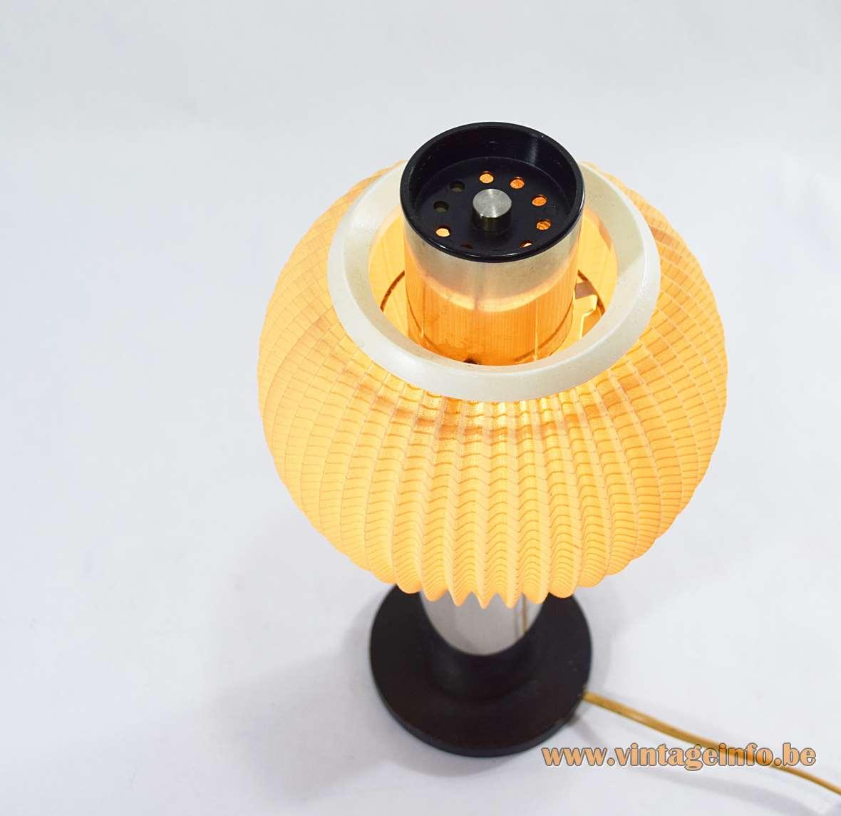 East German Table Lamp VEB Wonraumleuchten 1950s 1960s folded fabric chrome tube metal round globe