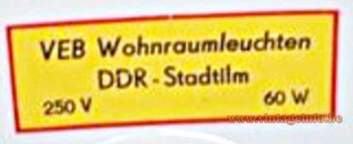 VEB Wohnraumleuchten DDR - Stadtilm 60 W 250 V