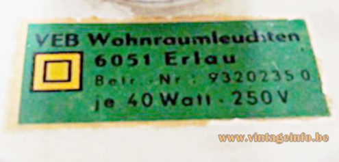 East German Table Lamp - VEB Wonraumleuchten label