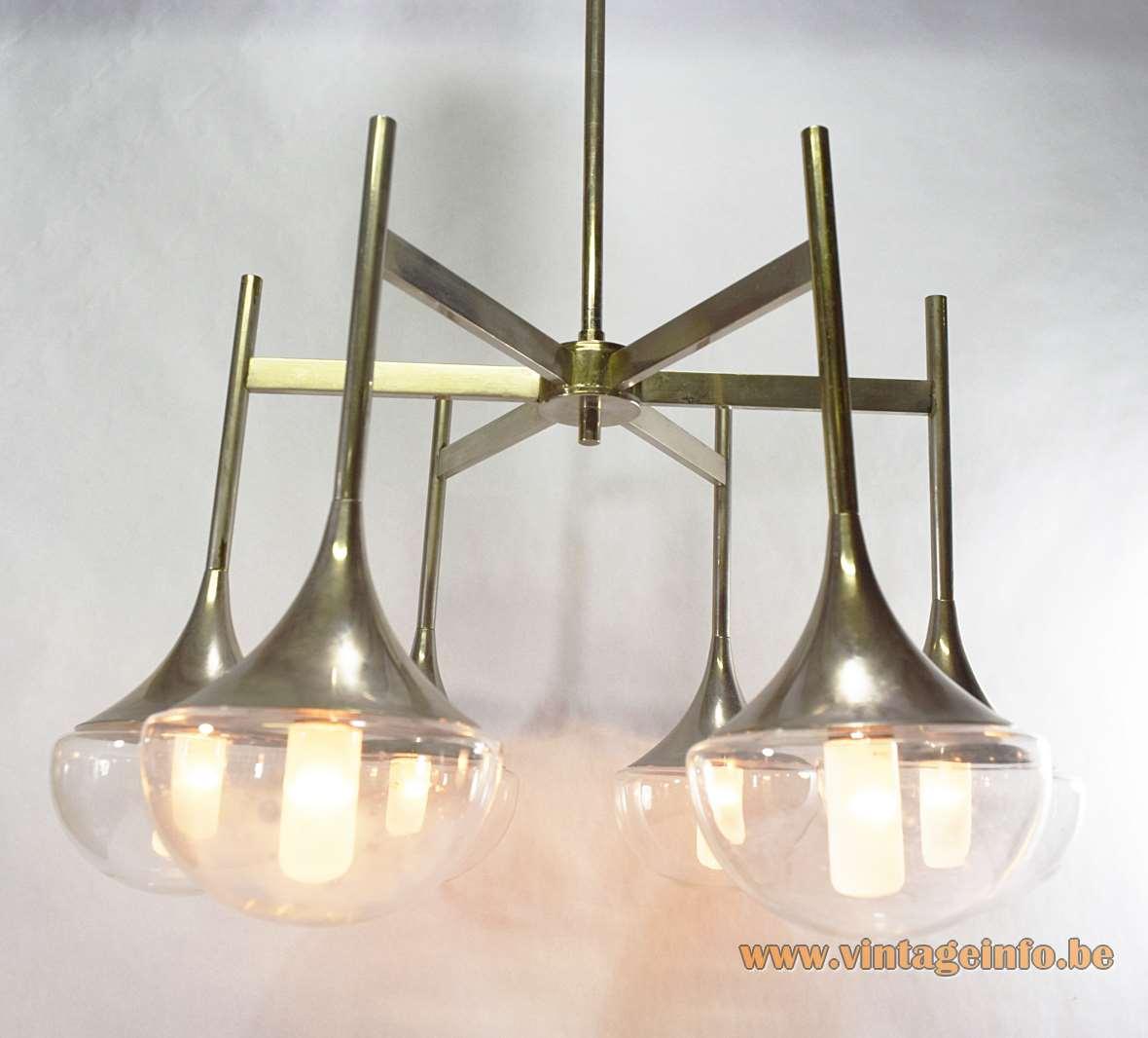Gaetano Sciolari Chandelier 6 light bulbs chrome Boulanger 1960s 1970s glass trumpet hanging lamp