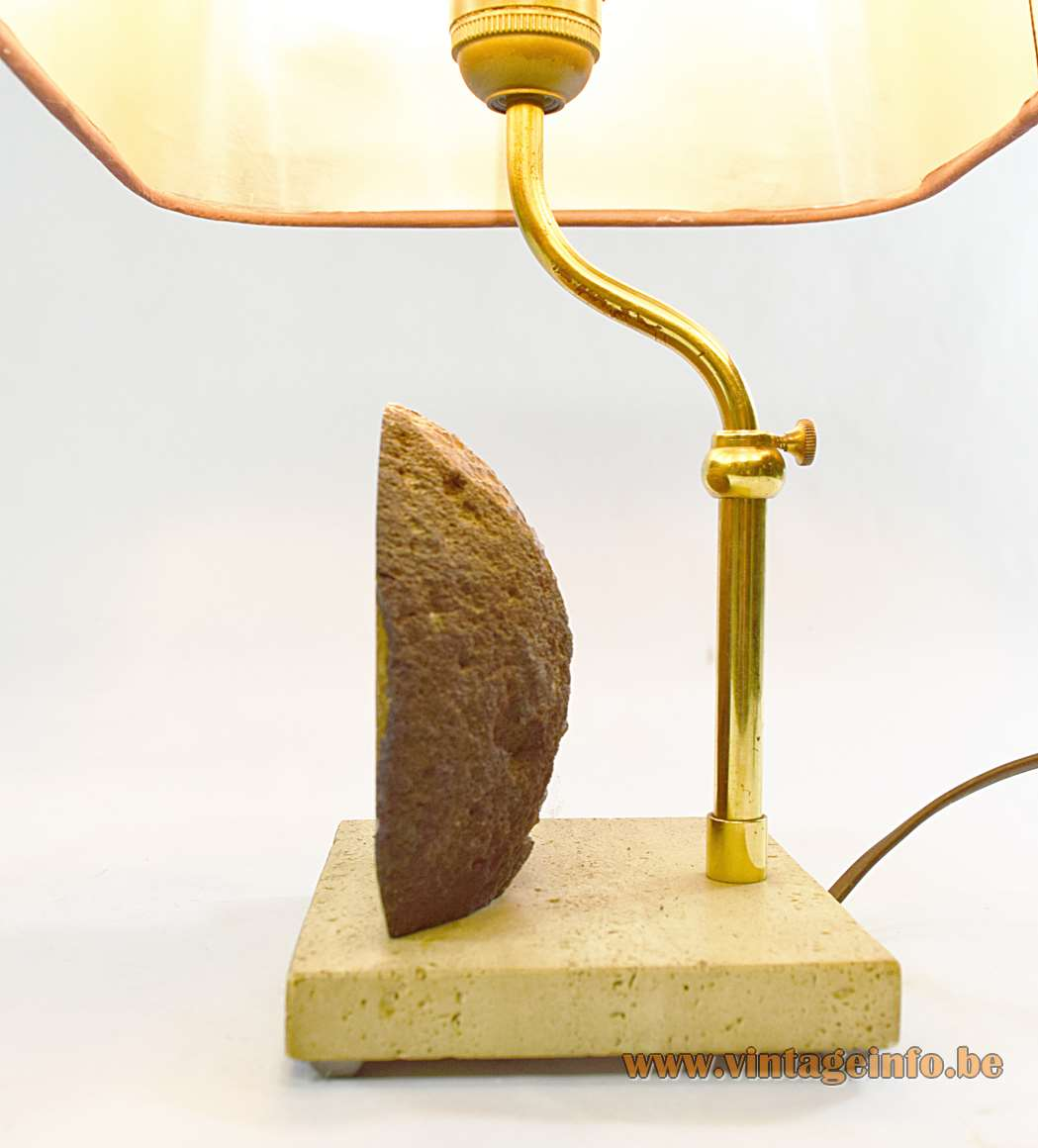 Pierre Faveere Agate Geode Table Lamp 1970s mineral stone travertine brass maroon cardboard lampshade