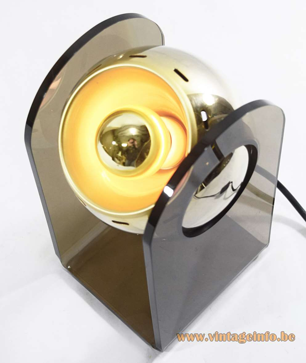 Gino Sarfatti Model 540 Table Lamp Germany Insta GmbH chrome gold globe brown acrylic 1970s 1980s