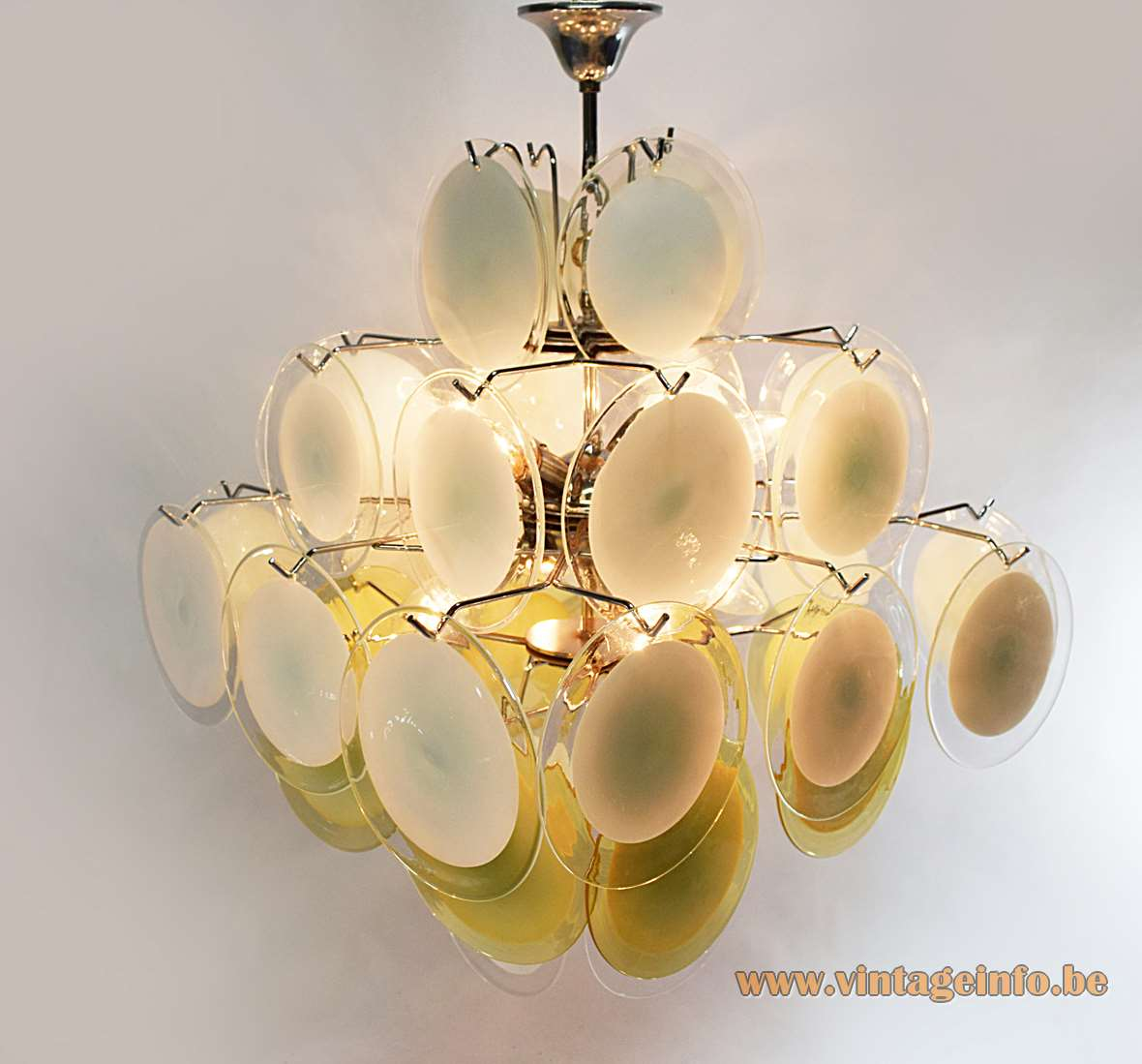 Gino vistosi white amber discs chandelier vintage info all vistosi the making aloadofball Image collections