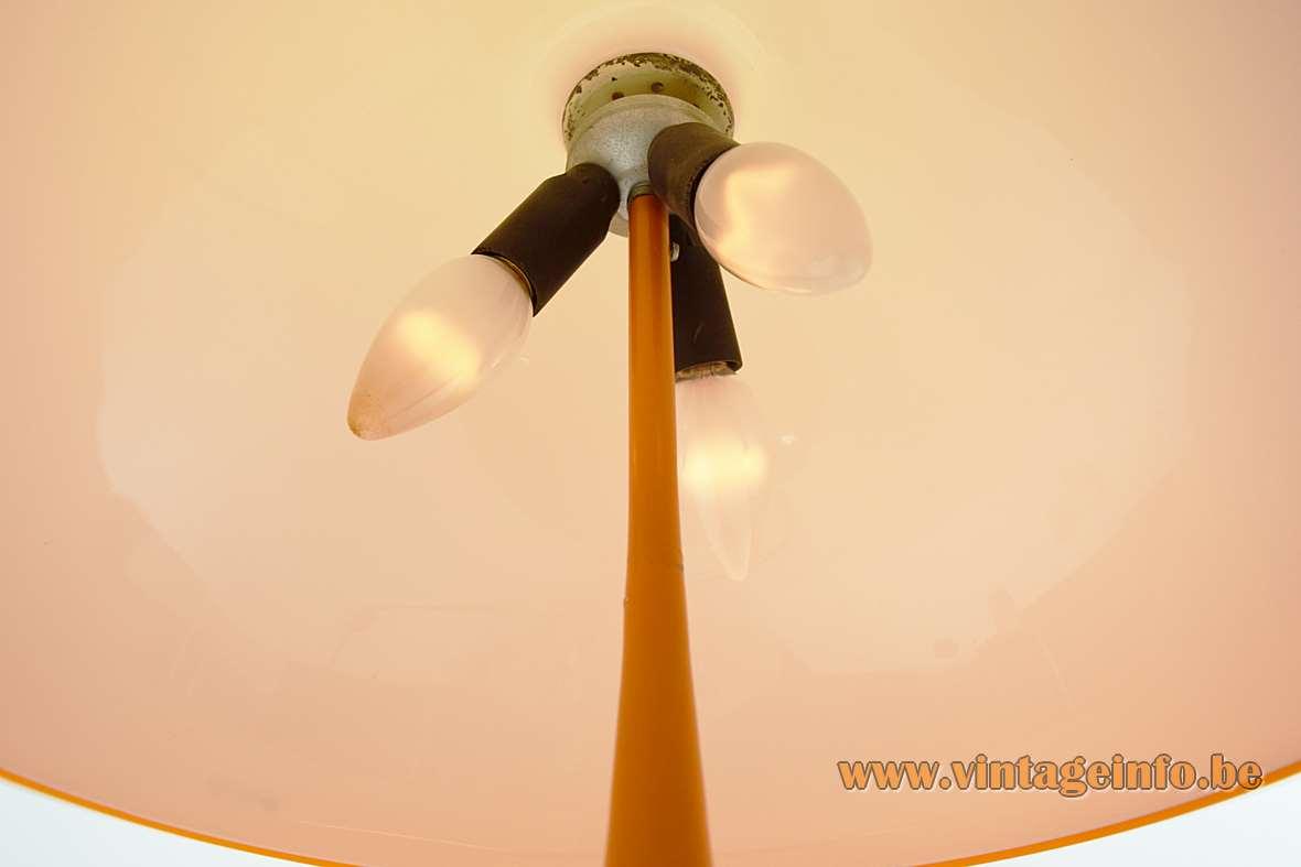 Harvey Guzzini Toledo Table Lamp Design: Luigi Massoni orange acrylic 1968 – 1972 edition Harveiluce