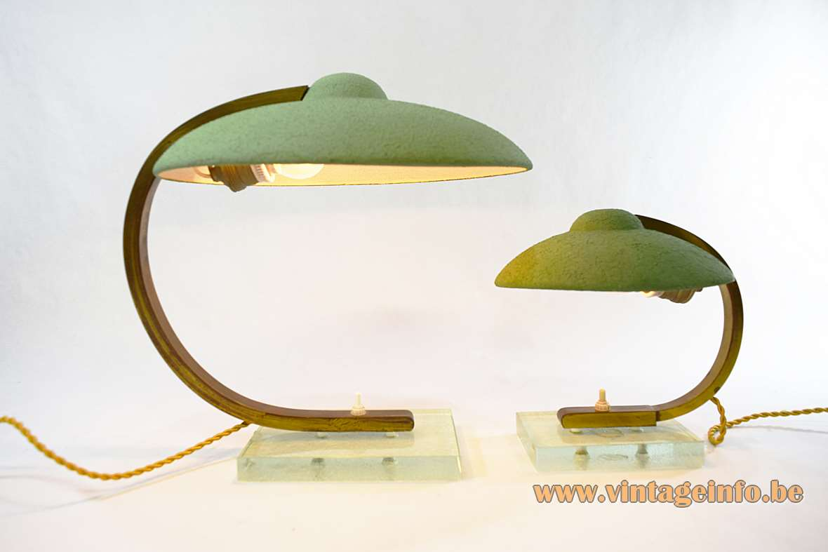 Italian Art Deco Desk Lamps mint green lampshade glass base 1920s 1930s 1940s wrinkle paint