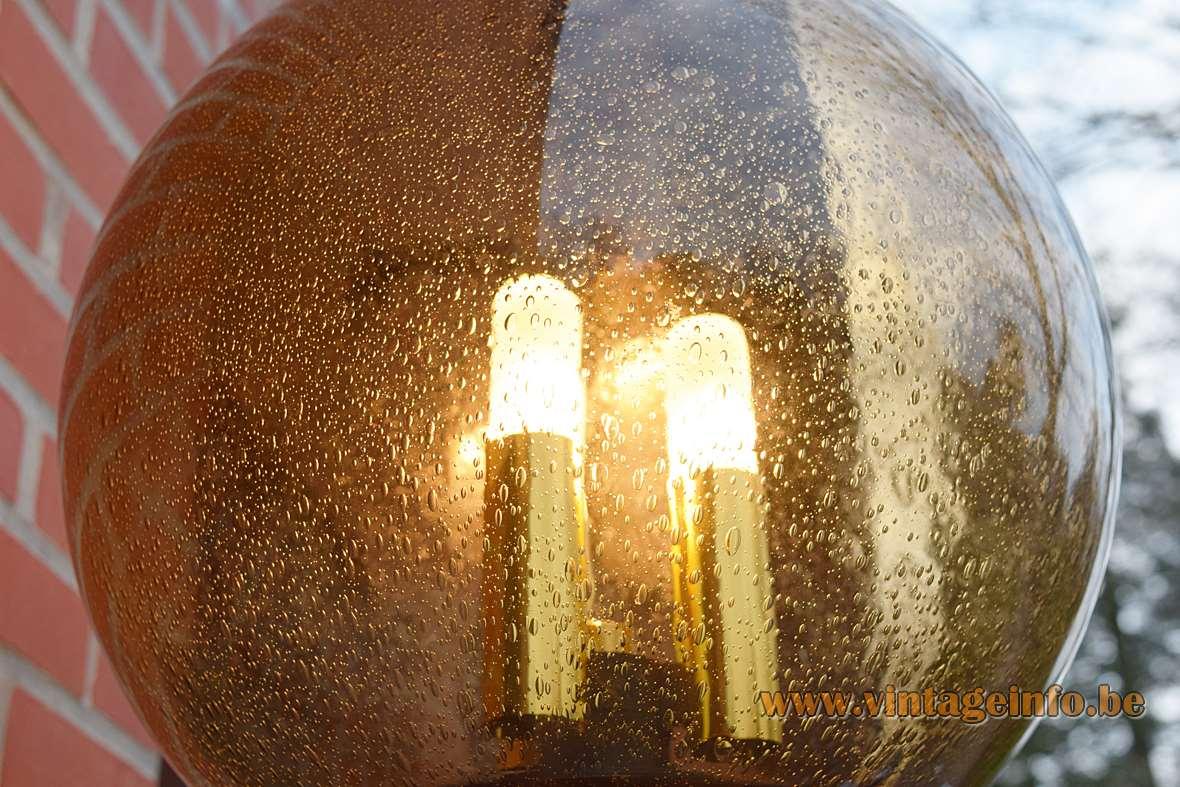 Limburg Glashütte Bubble Glass Garden Wall Lamp outdoor 1970s BEGA brass pulegoso industrial