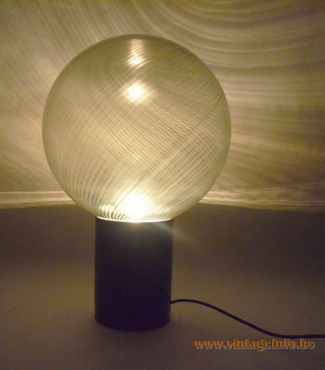 Lino Tagliapietra Globe Table Lamp 1970s La Murrina Murano Italy stripes glass black ball hand blown