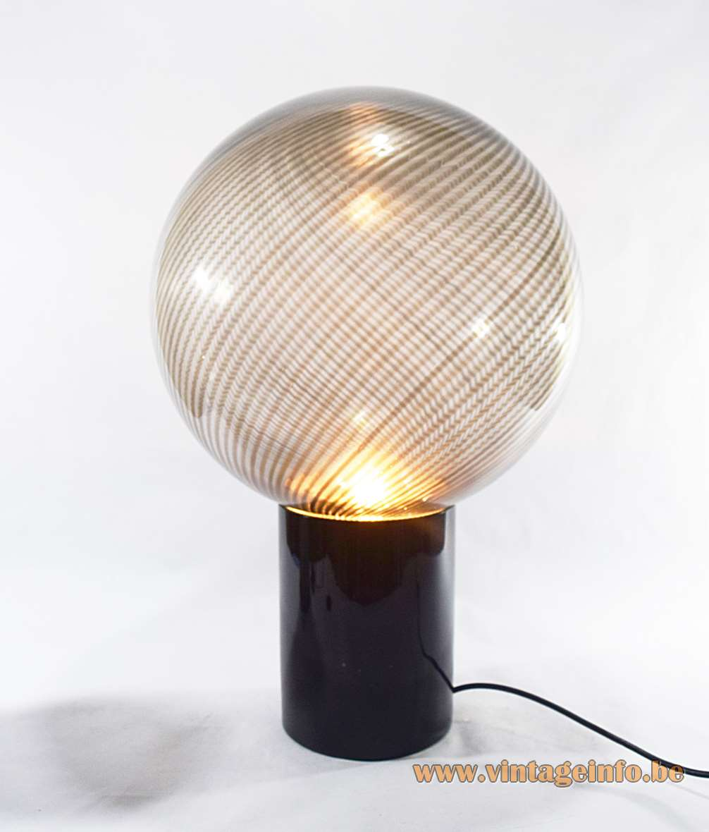 Lino Tagliapietra Globe Table Lamp 1970s La Murrina Murano Italy stripes glass black ball hand blown