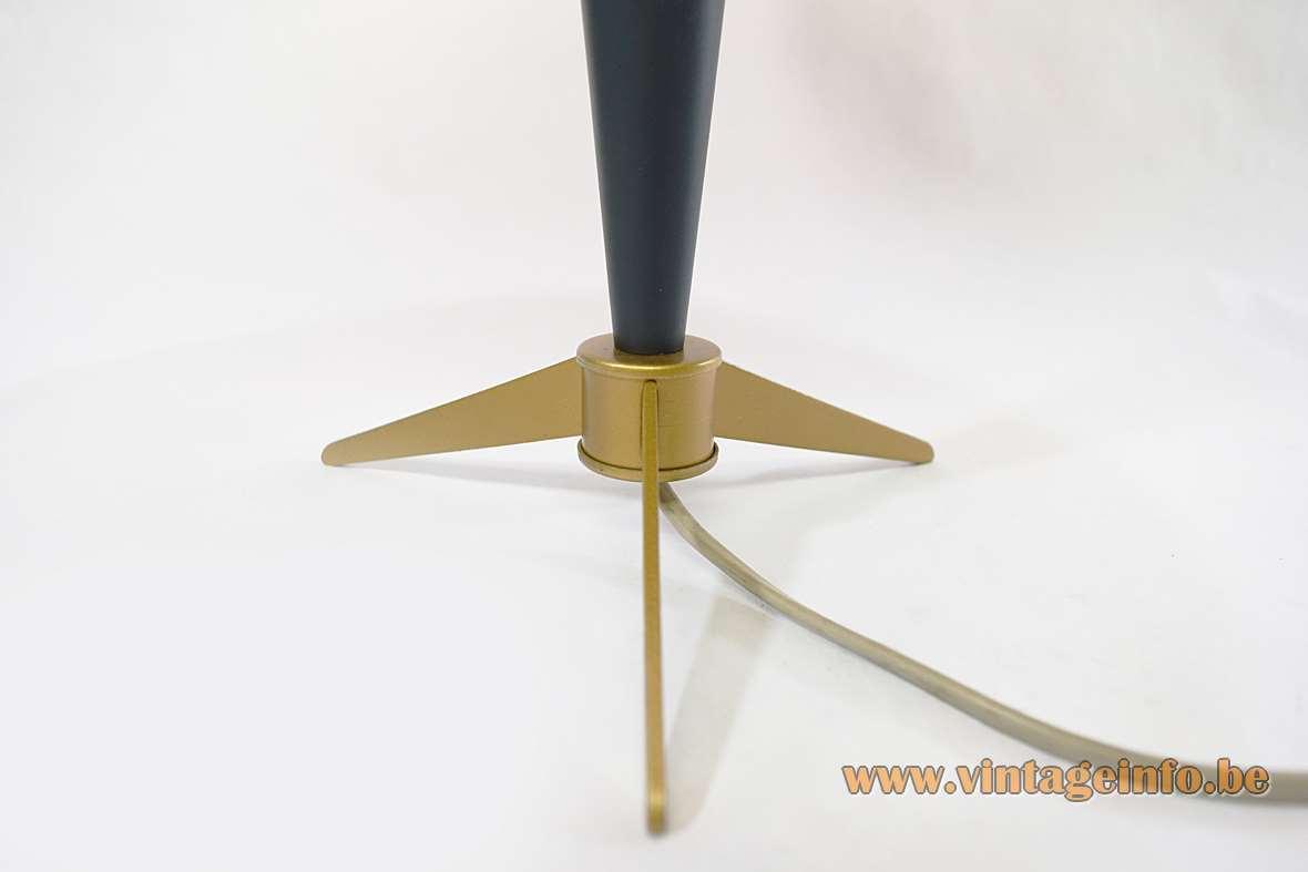 Louis Kalff Bijou Desk or Table Lamp dark green aluminium tripod brass 1950s 1960s Philips mushroom
