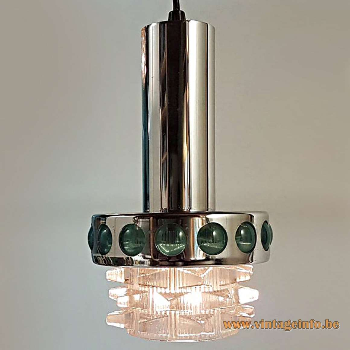 1960s Red Glass & Chrome Chandelier - Green version