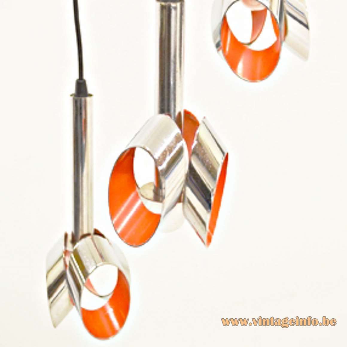 1960s Red Glass & Chrome Chandelier - Massive Lighting Chrome Pendant Chandelier