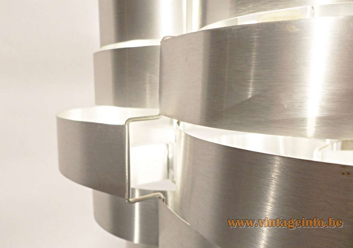 Pendant Lamp, Design Max Sauze, France, aluminium slats, light, metal, 1970s, Bandoxal, Ekilux, Almeco, 1960s, chandelier