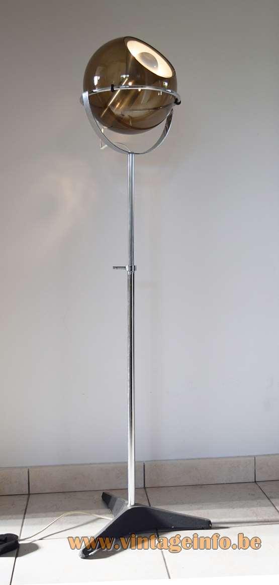Raak Globe Floor Lamp Designer: Frank Ligtelijn, Model D-2000, 50s/60s/70s, smoked glass, chrome