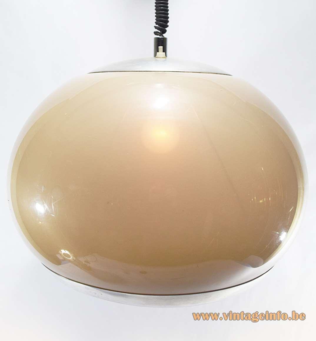 Stilux Rise & Fall Acrylic Pendant Lamp brown aluminium 1960s 1970s globe ball Milan Italy