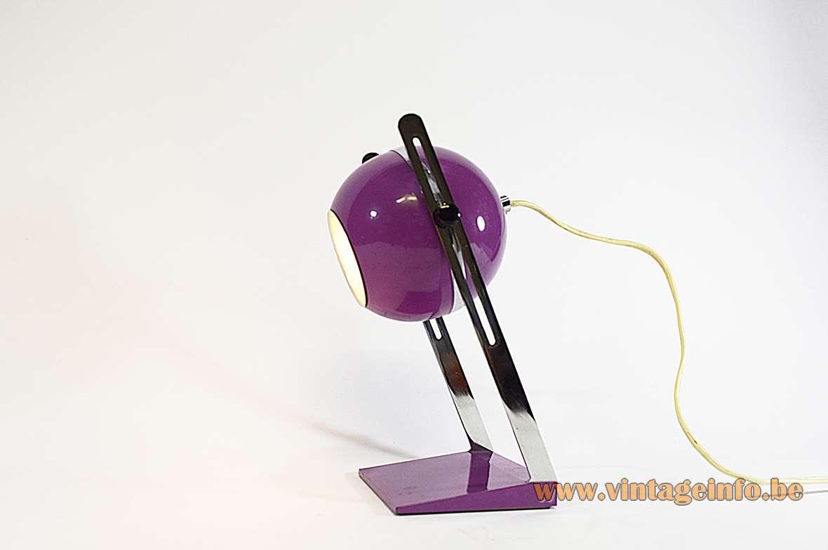 1970s Purple Aluminium Table Lamp
