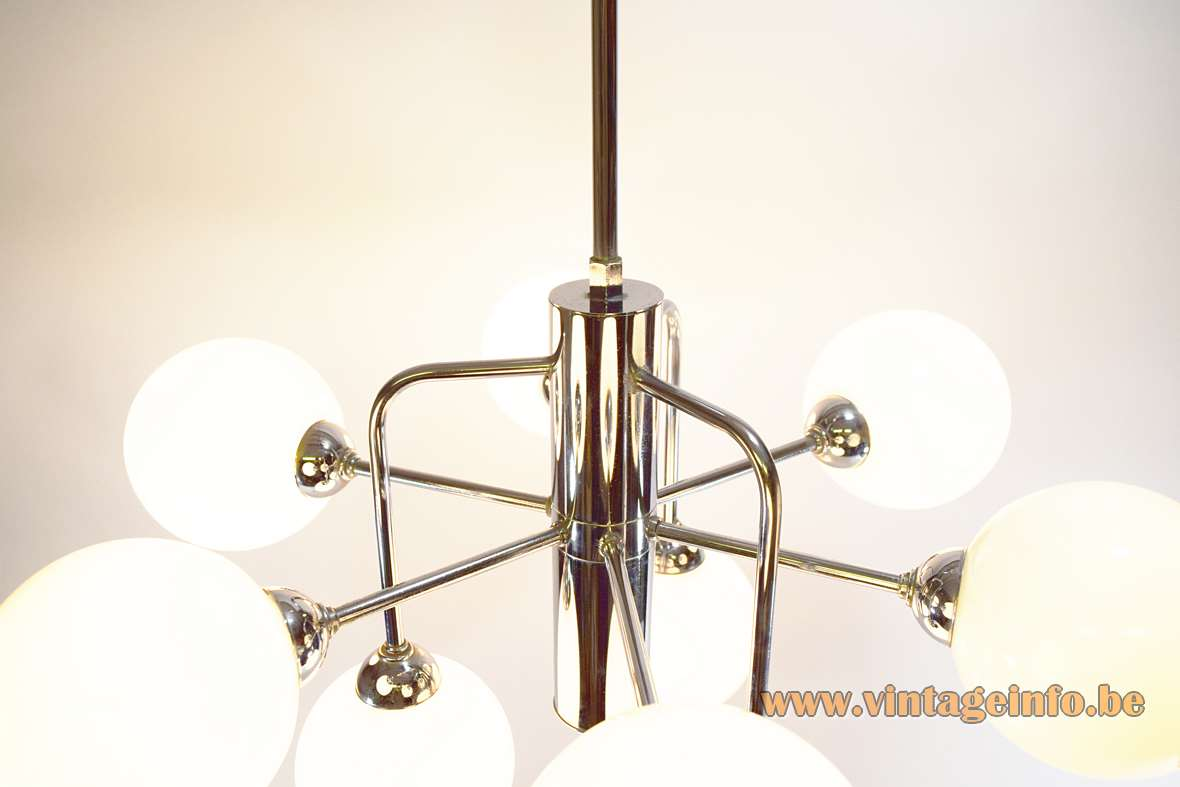 Atomic Globes Chandelier sputnik opal glass balls chrome 1960s 1970s Massive Belgium