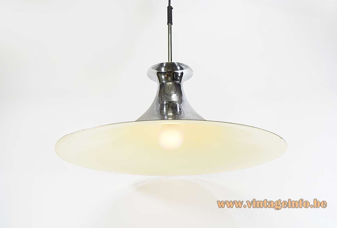 Chromed Witch Hat Pendant Lamp