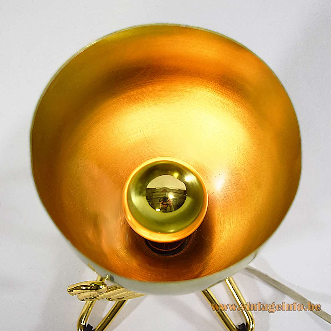 Conical TV Lamp - Here with a gold cupped light bulb