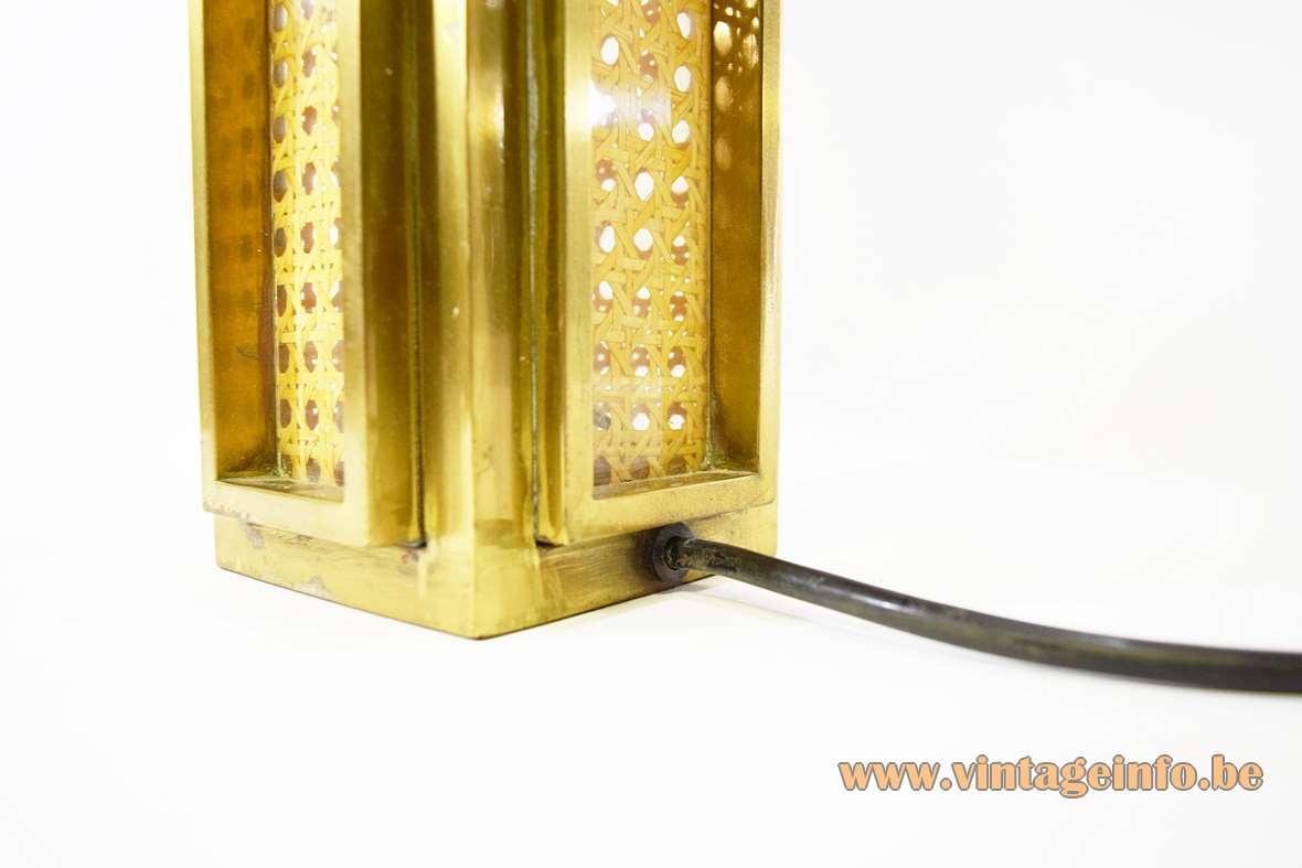Italian Brass & Cane Table Lamp
