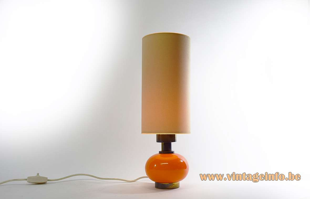 Orange Glass & Brass Table Lamp