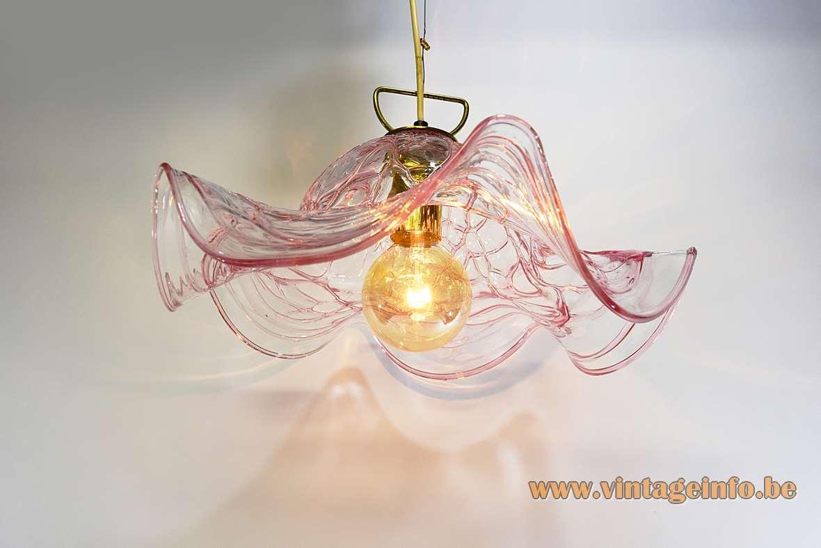 Pink Crystal Murano Pendant Lamp
