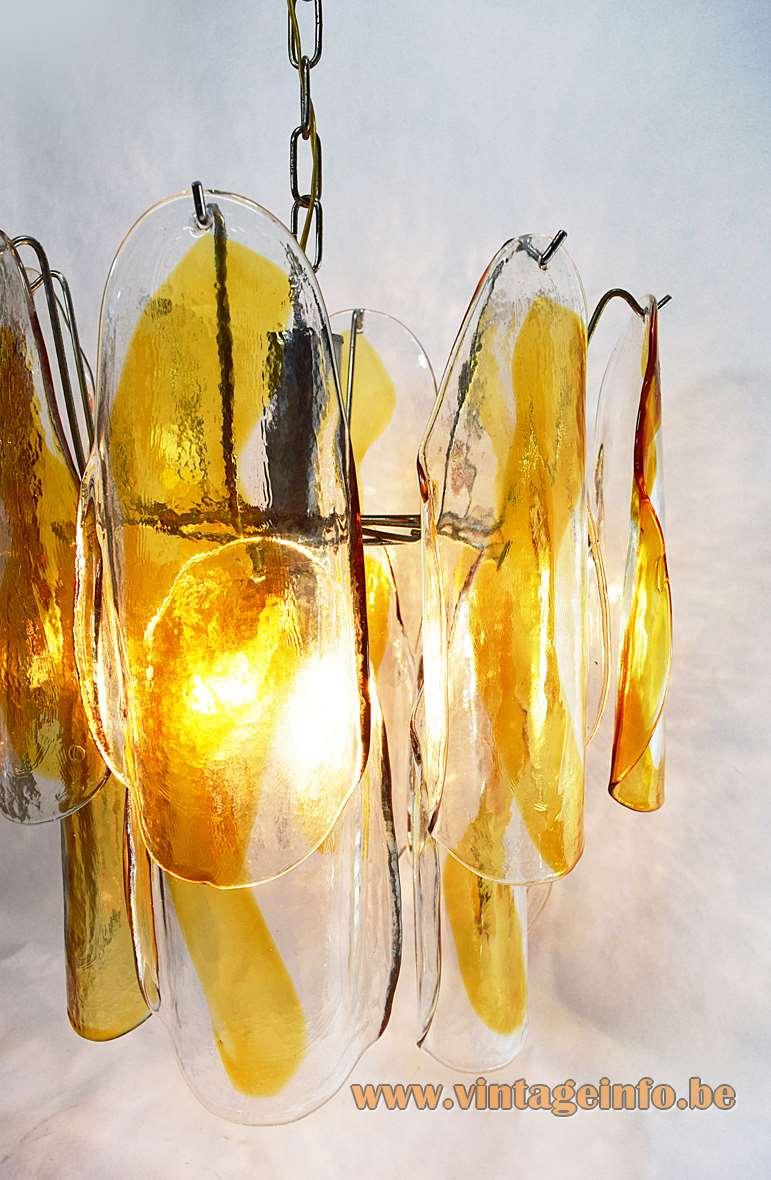 AV Mazzega Amber Crystal Glass Chandelier