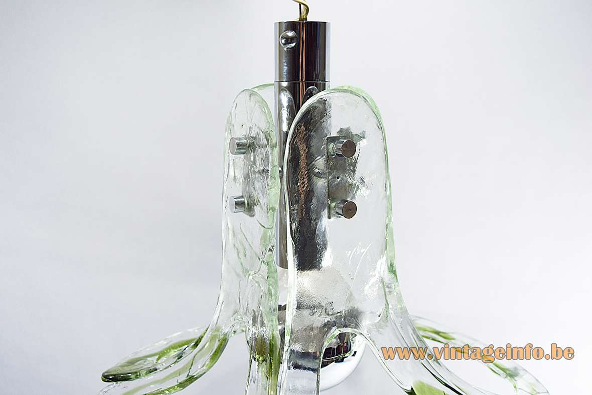 AV Mazzega 4 open glass leaves chandelier pendant lamp Murano Carlo Nason 1960s 1970s