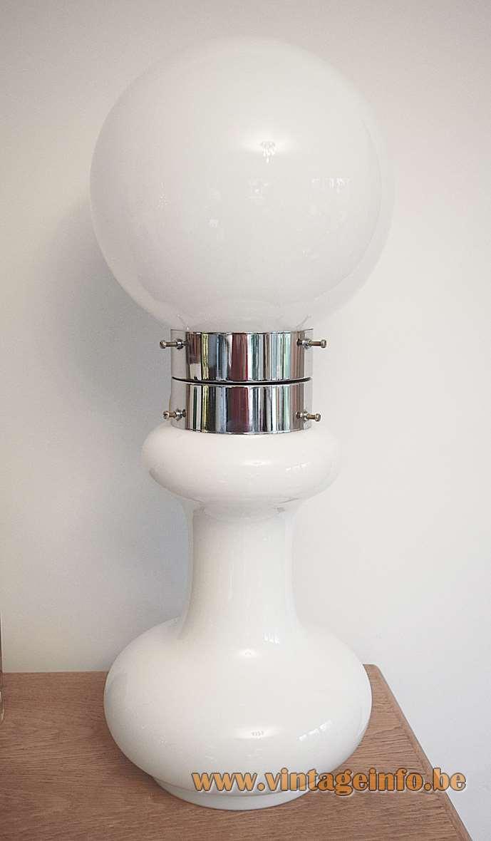 AV Mazzega white table floor lamp design Carlo Nason 1960s 1970s Murano glass 2 parts MCM