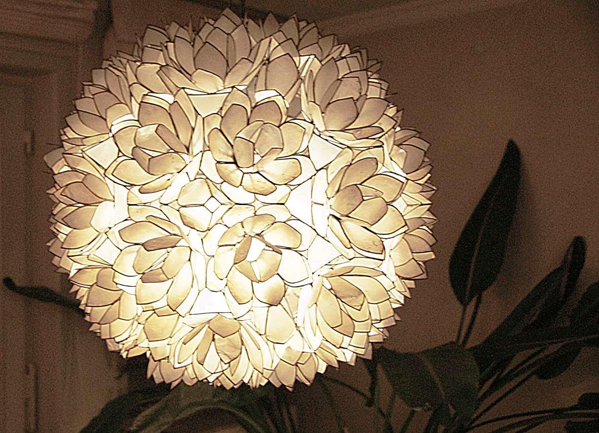 Capiz Flower Globe Chandelier