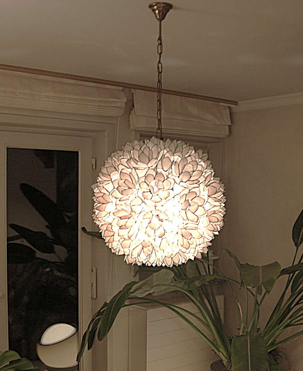 Capiz Flower Globe Chandelier shells windowpane oyster Placuna placenta 1950s 1960s Philippines brass ball