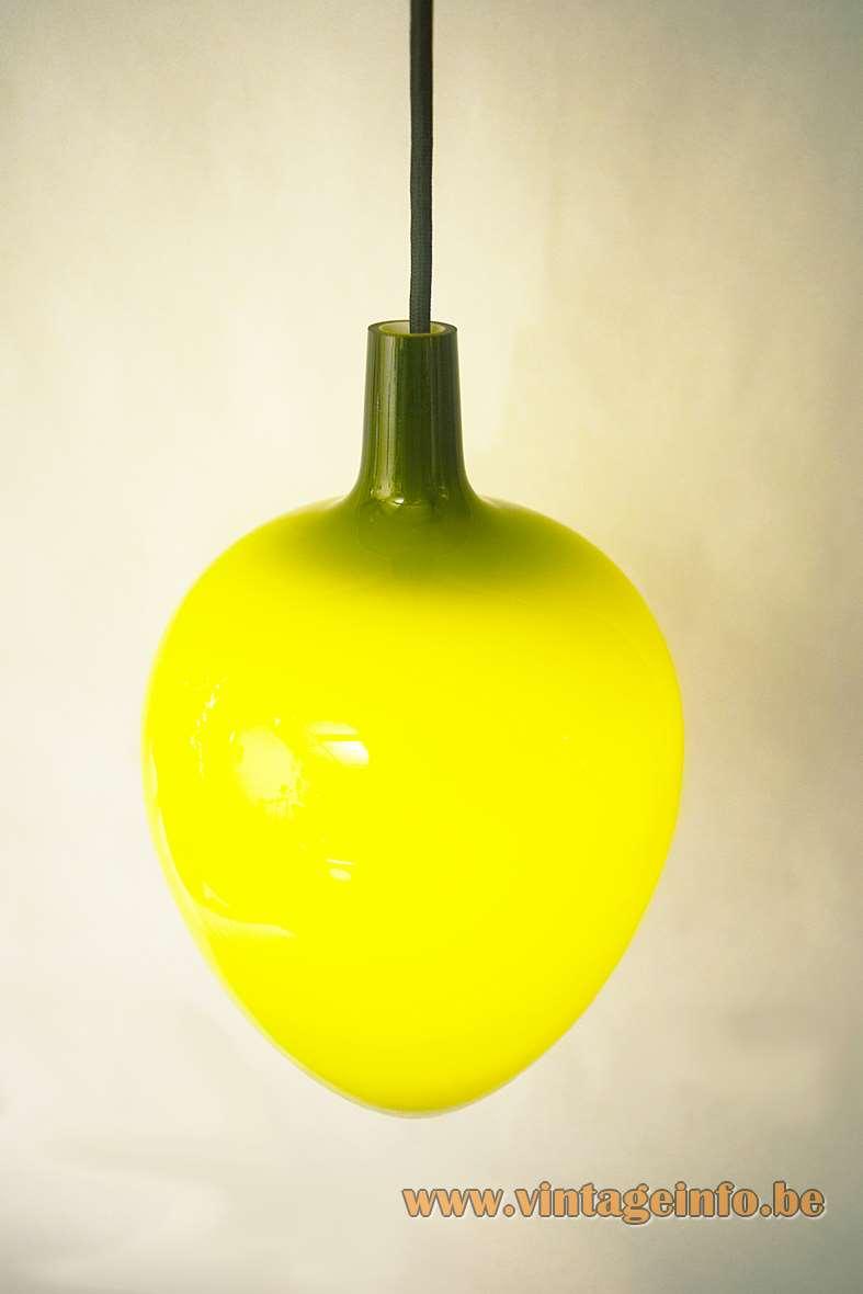 Fog & Morup Pompeï Pendant Lamp Design: Jo Hammerborg 1963 Denmark olive green glass MCM
