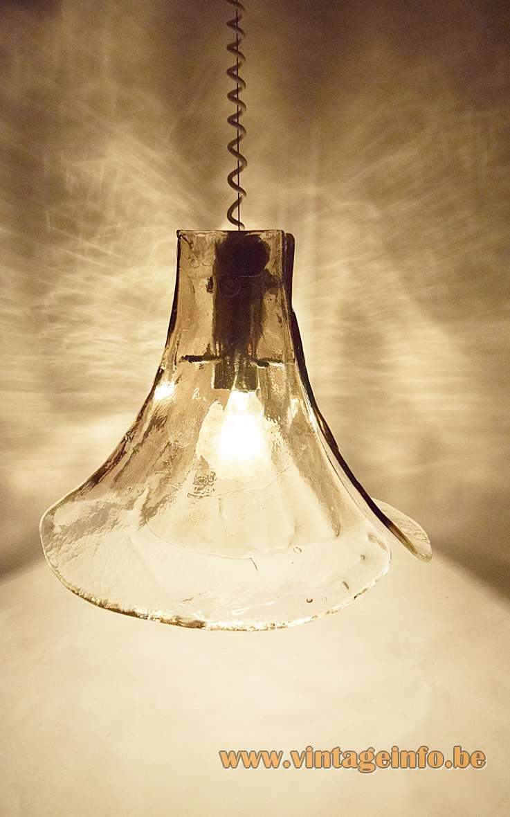 Kalmar Franken smoked glass chandelier pendant lamp Design: Carlo Nasson 1970s AV Mazzega