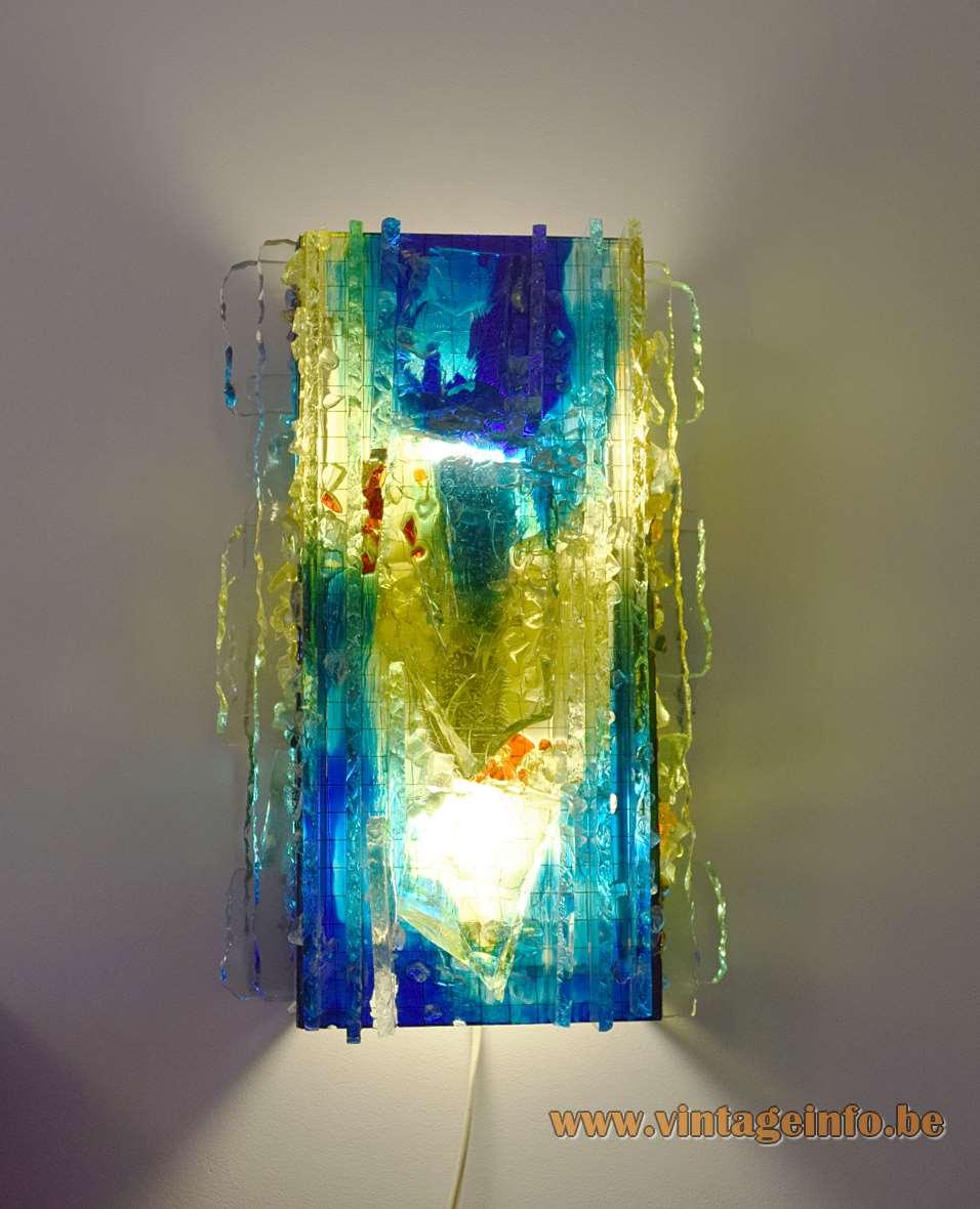 Raak Chartres blue-green brutalist glass wall lamp Design: Willem van Oyen Sr 1960s 1970s yellow