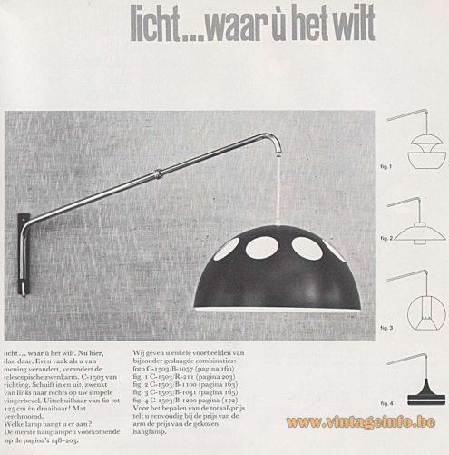 Raak Catalogue 8 - 1968 C-1053 - B-1057 Wall Lamp