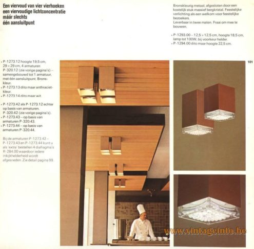 Raak Catalogue 9 - 1972 - Raak 'Viervoud' Flush Mount P-1273, P-1293, P-1294