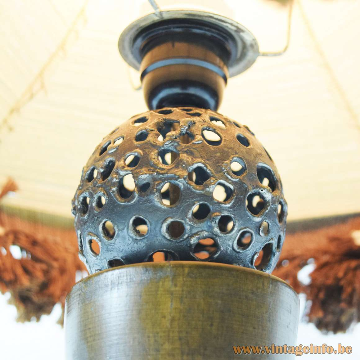 Rosewood Table Lamp - iron sphere