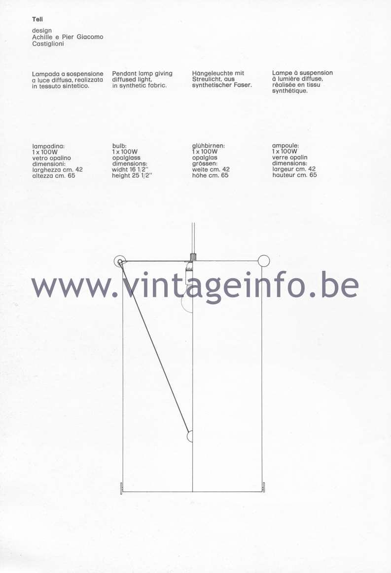 Flos Catalogue 1980 - Teli lamp, design Achille & Pier Giacomo Castiglioni