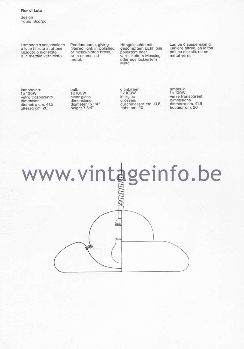 Flos Catalogue 1980 - Fior di Loto lamp, design Tobia Scarpa